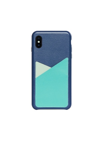 OBX blue Seafoam iPhone Xs Max Patchwork Leather Snap-On case 668A2AC6E7C190GS_1