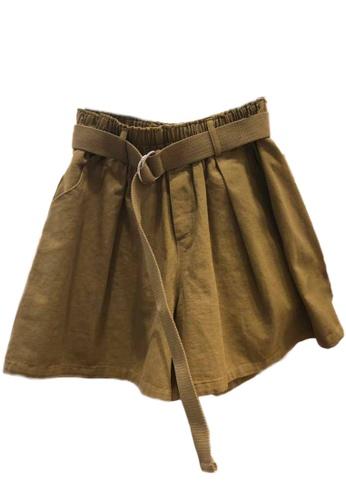 Sunnydaysweety beige Band Waist Wide-Leg Shorts A21032011DGKI BB1B7AA08B3123GS_1