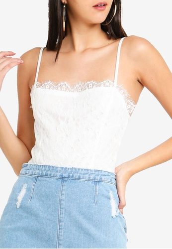 MISSGUIDED white Straight Neck Lace Overlay Bodysuit 0D08FAA8EF4458GS_1
