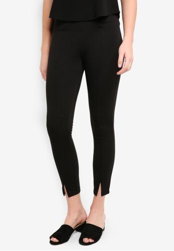 ICHI black Kate Slit Pants C711AAA282605FGS_1