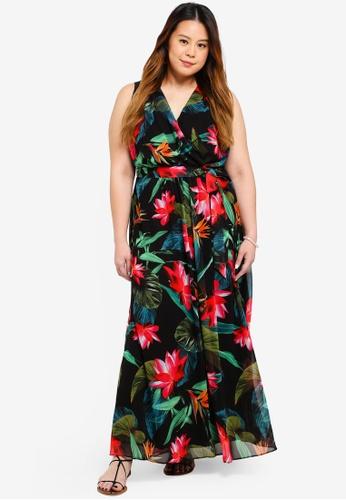 Dorothy Perkins black Plus Size Black Tropical Maxi Dress 0FF58AA8C322DFGS_1