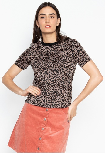 Chase Fashion brown Cheetah Animal Print Top D08D0AA8DB51E7GS_1