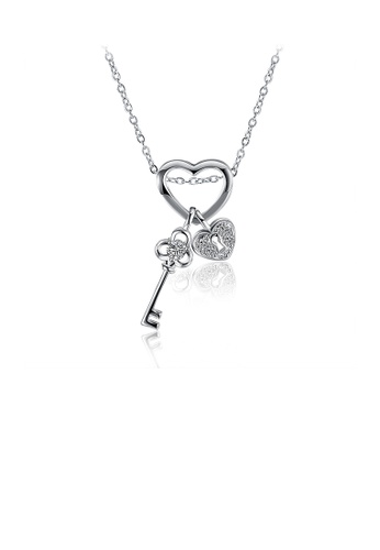 Glamorousky white Fashion Heart Key Pendant with Cubic Zircon and Necklace BF8C6ACD89E73EGS_1