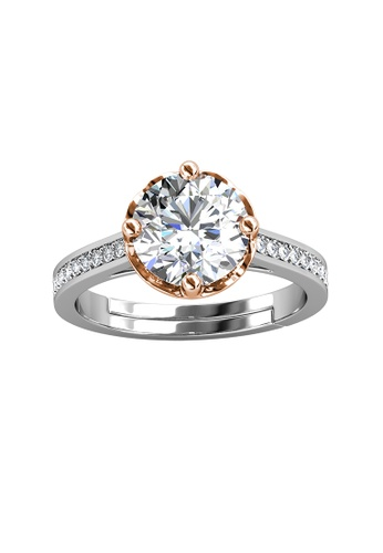 Her Jewellery silver CELÈSTA Moissanite Diamond - Le Fleur Ring (925 Silver with 18K White Gold Plating) by Her Jewellery F31D2ACD7F2BF0GS_1