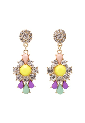 Jaysa Collection yellow Glamour Floral Earrings With Clear Crystals AED12ACA93351AGS_1