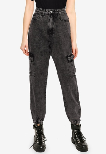 MISSGUIDED black Washed Black Utility Jogger Jeans E75FCAADBD1109GS_1