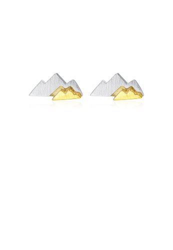 Glamorousky silver 925 Sterling Silver Simple and Fashion Two-color Mountain Stud Earrings 0CCADAC1907465GS_1