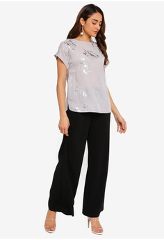 54b3138f985475 Dorothy Perkins Silver Foil Tee S  59.90. Available in several sizes