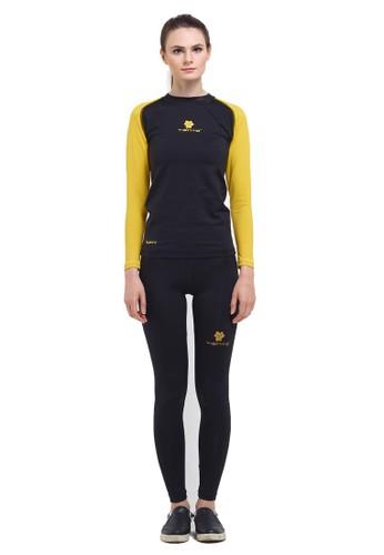 Tiento black Tiento Baselayer Manset Olahraga Long Sleeve Black Yellow dan Celana Legging Wanita Long Pants 1 Set 5403FAA8FF76E5GS_1