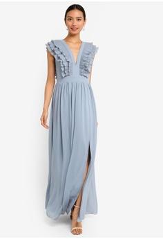 Little Mistress Amina Blue Plunge Frill Maxi Dress RM 469.00. Sizes 6 8 10  14 cc6ff9fc7