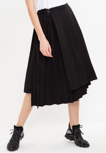 Bossini black Solid Pleated Skirt BA24AAA52B12E1GS_1