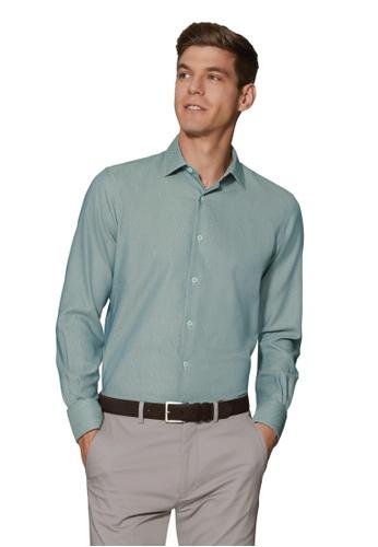 T.M. LEWIN green T.M.Lewin Micro Dogtooth Green Single Cuff Shirt 284ABAA2591561GS_1