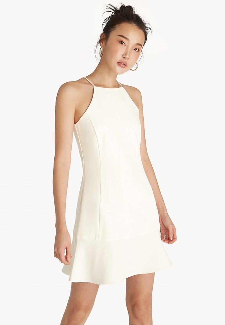 White Pomelo Mini Neck Flared Dress Halter White 6HvqYU