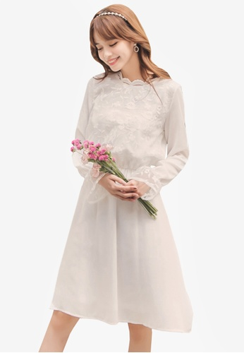Yoco white Lace Detailing Midi Dress C667AAADDBC0FBGS_1