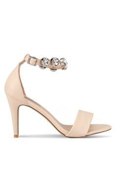 【ZALORA】 White Stone Diamond Strap Heels