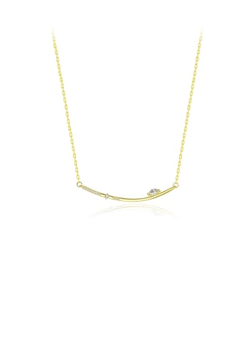 Glamorousky white 925 Sterling Silver Plated Gold Simple Geometric Bar Necklace with Cubic Zirconia A87BFAC8B22366GS_1