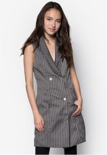 雙排鈕直紋長版背心外套, 服飾, 正式zalora鞋洋裝