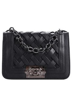 Synthetic Leather Woven Pattern Flap Bag