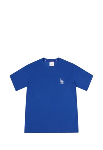 MLB blue POPCORN BIG LOGO SHORT SLEEVE T-SHIRT LA DODGERS BLUE 57310AACF58065GS_1