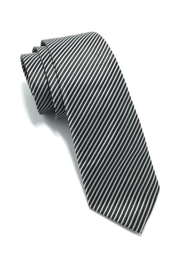 Splice Cufflinks Regalia Series Black Stripes Polyester Fabric Tie SP744AC77QMSSG_1