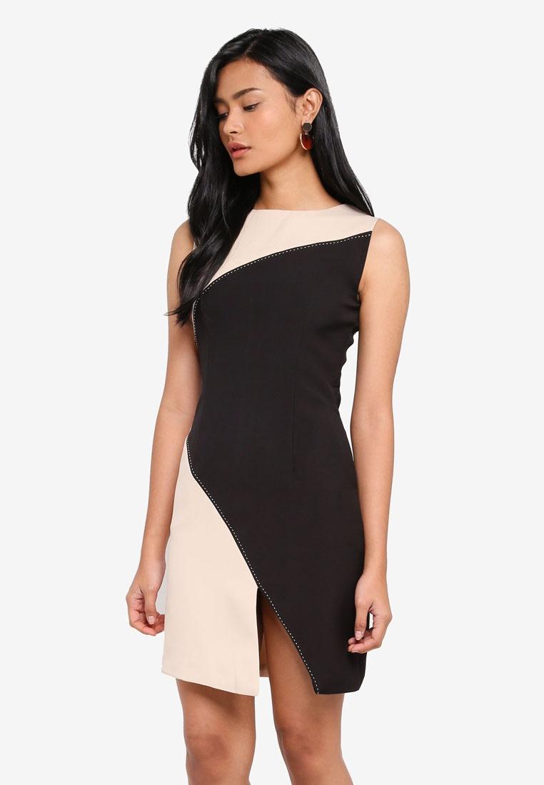 Beige Contrast Dress Ailsa Megane Panel Essential 1qX5Z