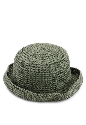 OVS 綠色 Hat With 編織Brim 95361AC196F735GS_1