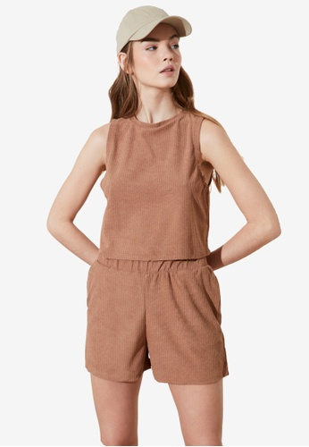 Trendyol brown 2-Piece Knit Tank Top and Shorts Set 9D8FEAAE38914DGS_1