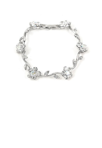 Glamorousky silver Silver Flower Bracelet with Silver Austrian Element Crystals BD6FEACF6C47CAGS_1