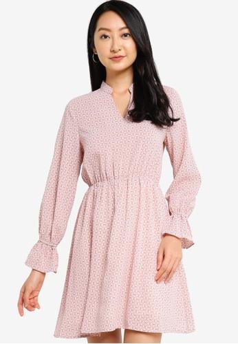ZALORA BASICS pink Notch Neck Mini Dress with Elastic Waist 1753EAA8382B24GS_1