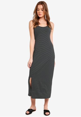 ZALORA BASICS black and white Basic Cami Midi Dress 1D335AAB985729GS_1