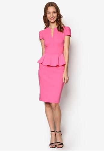 深V領荷葉飾短袖連身裙, esprit 品牌服飾, 服飾