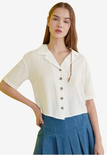 Trendyol white Basic Button Down Short Sleeve Shirt 2A631AAE8CEAC4GS_1