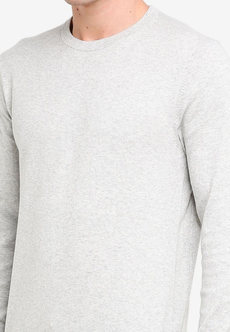 Grey Burton Neck Menswear Light Grey Marl London Crew Jumper FP4K18Kq