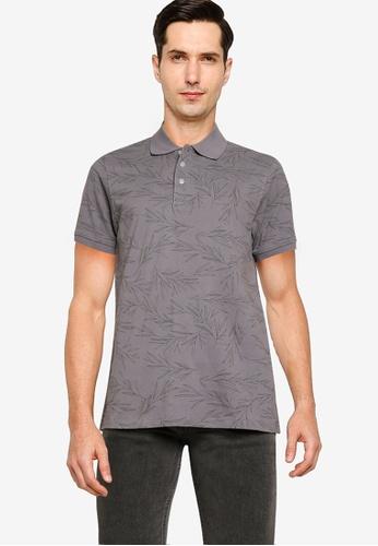 Electro Denim Lab grey Printed Cotton Polo Shirt 11072AAA408C5BGS_1