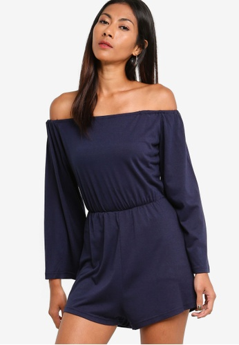 ZALORA BASICS navy Basic Flared Sleeves Playsuit AC153AA94B7884GS_1
