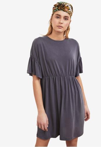 Trendyol grey Ruffle Sleeve Flounce Dress 2E4ADAA22B68D9GS_1