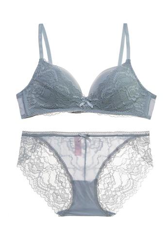 ZITIQUE grey Women's Fashionable Gathered Seamless Lingerie Set (Bra And Underwear)  - Grey 1EF0DUS6FDAE06GS_1