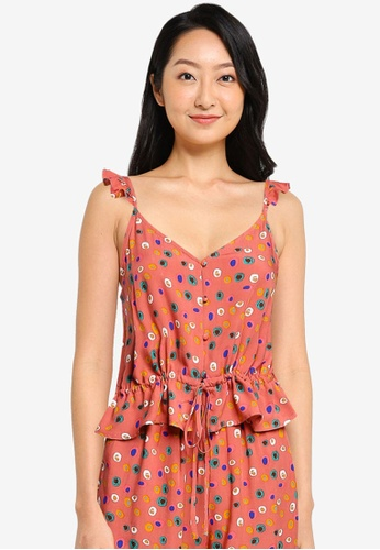 ZALORA BASICS 粉紅色 and 多色 Lounge 褶飾細肩帶上衣 14189AA8B562A0GS_1