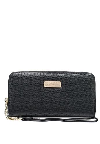 Unisa black Debossed Ladies Zip-Around Wallet 41994ACC5527ADGS_1