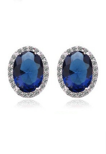 Vivere Rosse blue Oval Stud Earrings (Blue) VI014AC53LZQMY_1