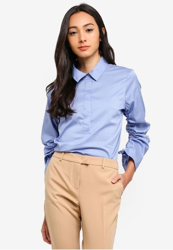 Sisley blue Long Sleeves Shirt. A27D8AAE1A4FE0GS_1