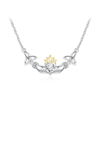Glamorousky white 925 Sterling Silver Fashion Creative Two-handed Heart Necklace with Cubic Zirconia 9AACEACBD102CAGS_1