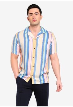 8a6f4ea0ae9 River Island blue Stripe Revere Short Sleeve Shirt 61FEFAAD5B6650GS 1