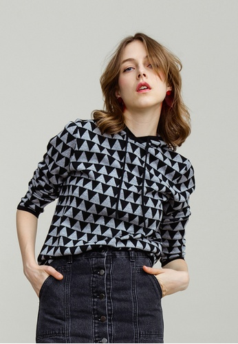 KLAPS black Triangle Patterned Hoodie 676F7AAC5E9804GS_1