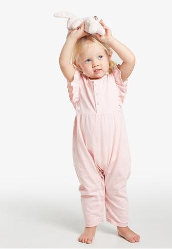 Gen Woo pink Ruffle Baby Jumpsuit By Gen Woo A6873KA5FBB2EDGS_1