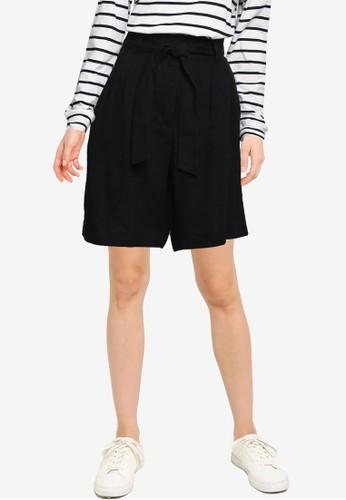 Mango black Linen Bow Bermuda Shorts 94072AA0FB5B0EGS_1