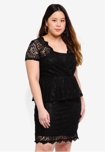 Only CARMAKOMA black Plus Size Lace Short Dress 15DA2AA87771DCGS_1