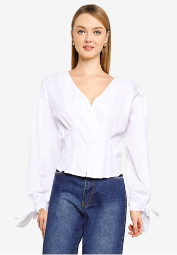 MISSGUIDED 白色 Petite Cinched 腰圍上衣 E3E94AA1E16BC8GS_1