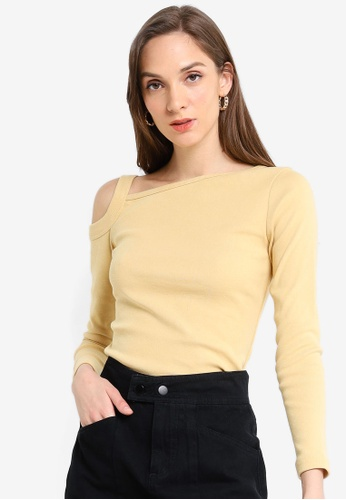 UniqTee yellow Open Shoulder Long Sleeves Top B7320AA8C22D48GS_1