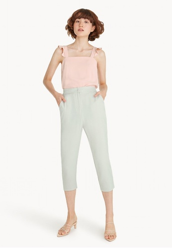 Pomelo grey Crop High Waist Fitted Pants - Light Grey 9993FAAC0C6F1AGS_1
